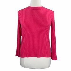 Zara Hot Pink Long Sleeve Ribbed Knit Tee